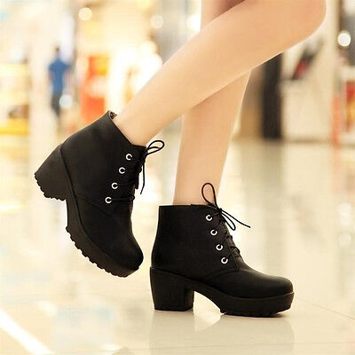 Womens Round Toe Lace Up Chunky Platform Block Heels Oxford Shoes Ankle Boots