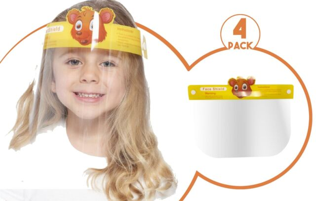 KIDS FACE SHIELD SAFETY COVER GUARD REUSABLE FULL PROTECTION VISOR 3 PACK