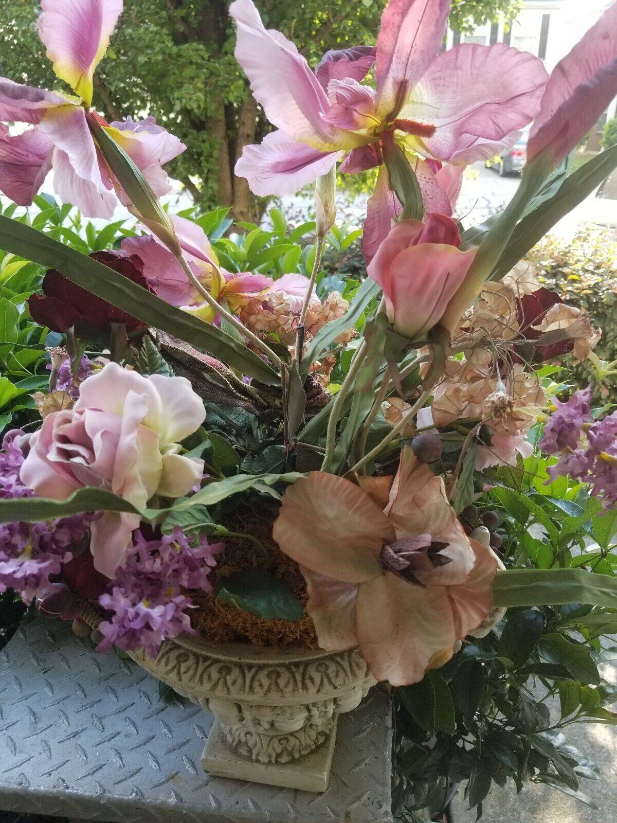 Artificial 30 Phalaenopsis Orchid Flower Arrangement In Burgundy Weave Vase Floral Décor Home Décor
