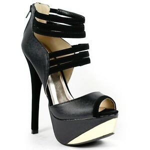 42dfa853a60 Image is loading Black-Strappy-Faux-Leather-Gold-Metallic-Plate-Peep-
