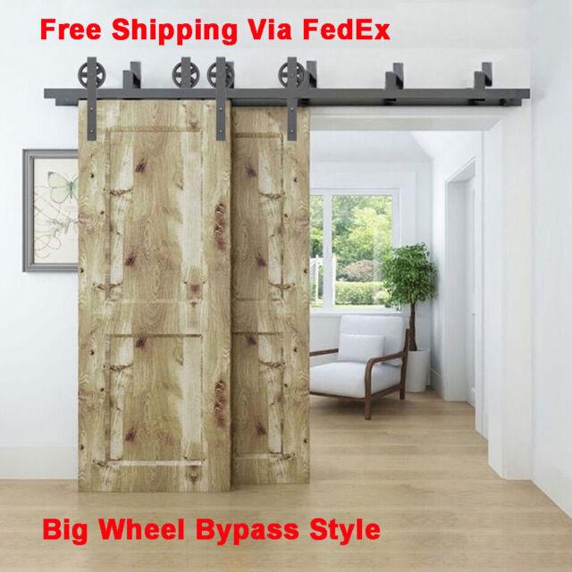 Attirant 5 16FT Bypass Spoke Wheel Sliding Barn Door Hardware Heavy Duty Roller Track  Set