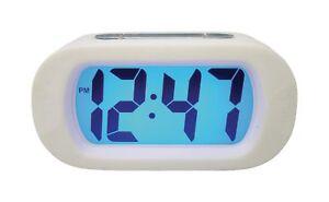 Reloj-Digital-gran-pantalla-LCD-azul-retroiluminacion-de-cuarzo-Retro-Blanco-acabado-de-goma