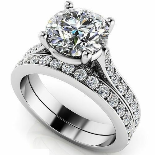 Certified 2.70Ct White Round Diamond 14K White gold Engagement Wedding Ring Sets