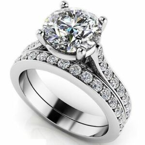 Certified-2-70Ct-White-Round-Diamond-14K-White-Gold-Engagement-Wedding-Ring-Sets