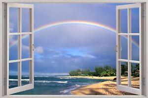 Huge-3D-Window-view-Rainbow-over-Beach-Wall-Sticker-Film-Art-Decal-180