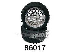 86017 COPPIA RUOTE COMPLETE CERCHI CROMATI 1/16 OFF-ROAD ESAGONO 12mm HIMOTO