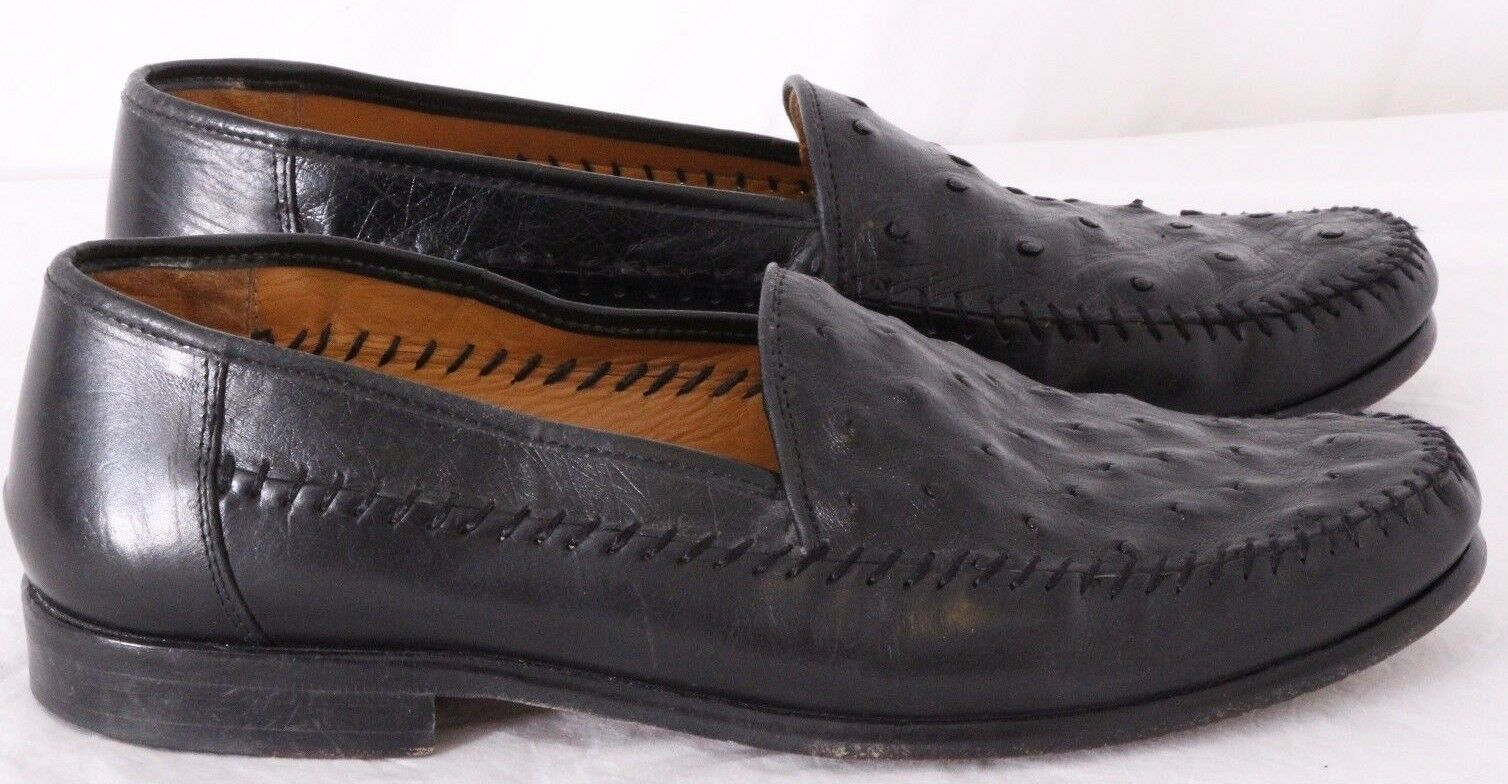 Sandro Moscoloni Laquil Moc Toe Ostrich Stitched Loafers Slip On Men's US 7