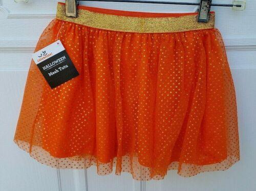 HALLOWEEN GLITTER TULLE TUTU Size 3T Orange GOLD WAISTBAND NWT TODDLER