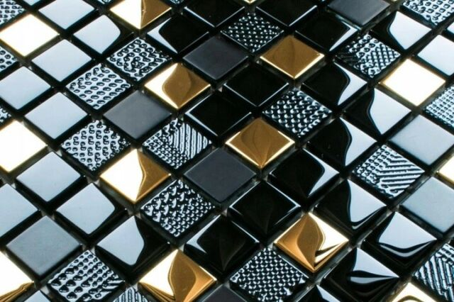 Bador Glasmosaik Mosaik Fliesen Mosaikfliesen Glasfliesen Glas Gold 30x30 Neu