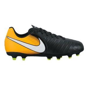 disabilità strutturali rilasciare informazioni su up-to-date styling Dettagli su Nike JR.Tiempo Rio IV (FG) Firm-Ground Scarpe da calcio - Nero  / Laser arancione