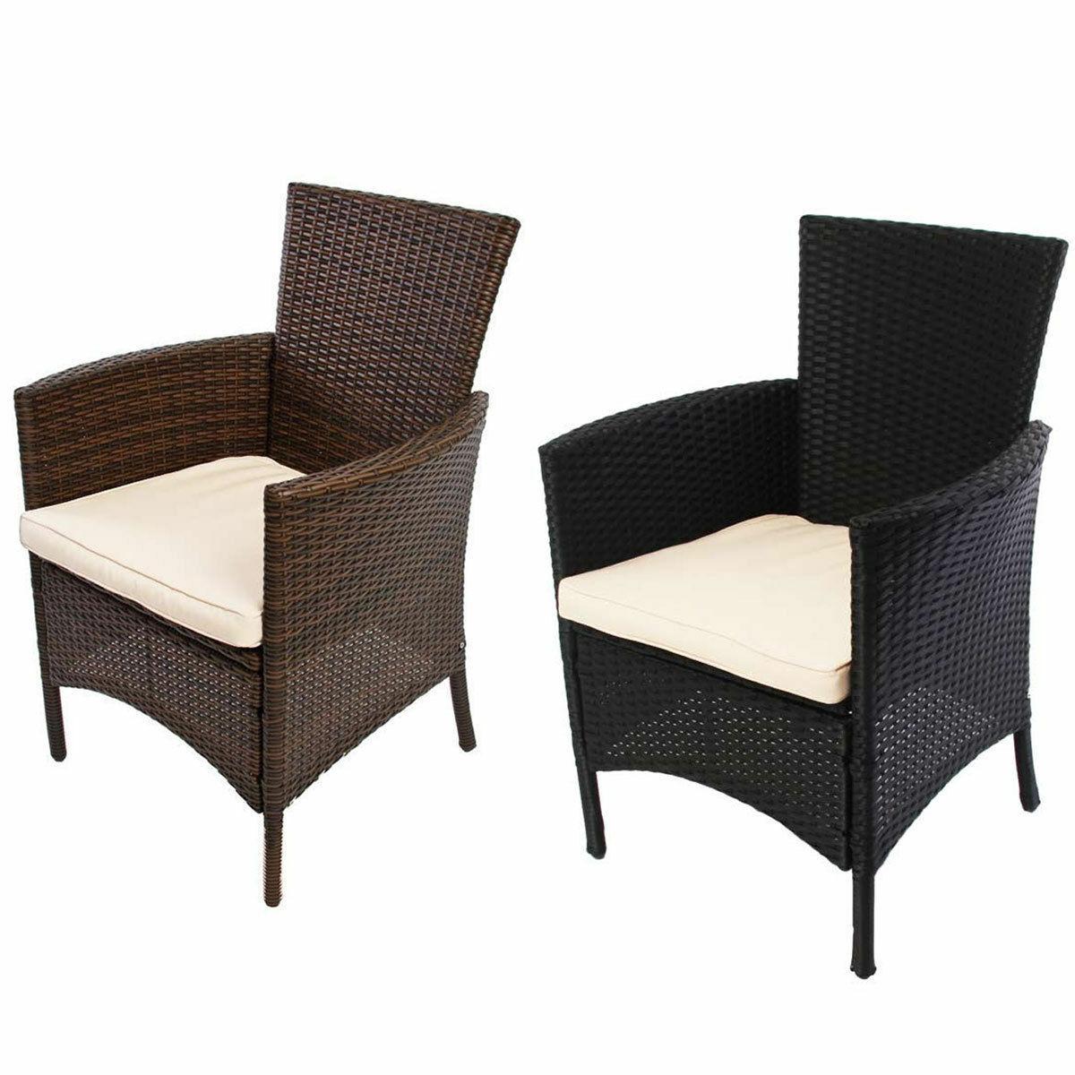 1x o 2x jardín butaca cesta sillón romv Poly-ratán Alu antracita marrón-moteado