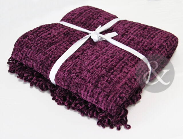 Chenille Throws Aubergine Purple Extra Large Thermal Woven Bedspread Throw Over