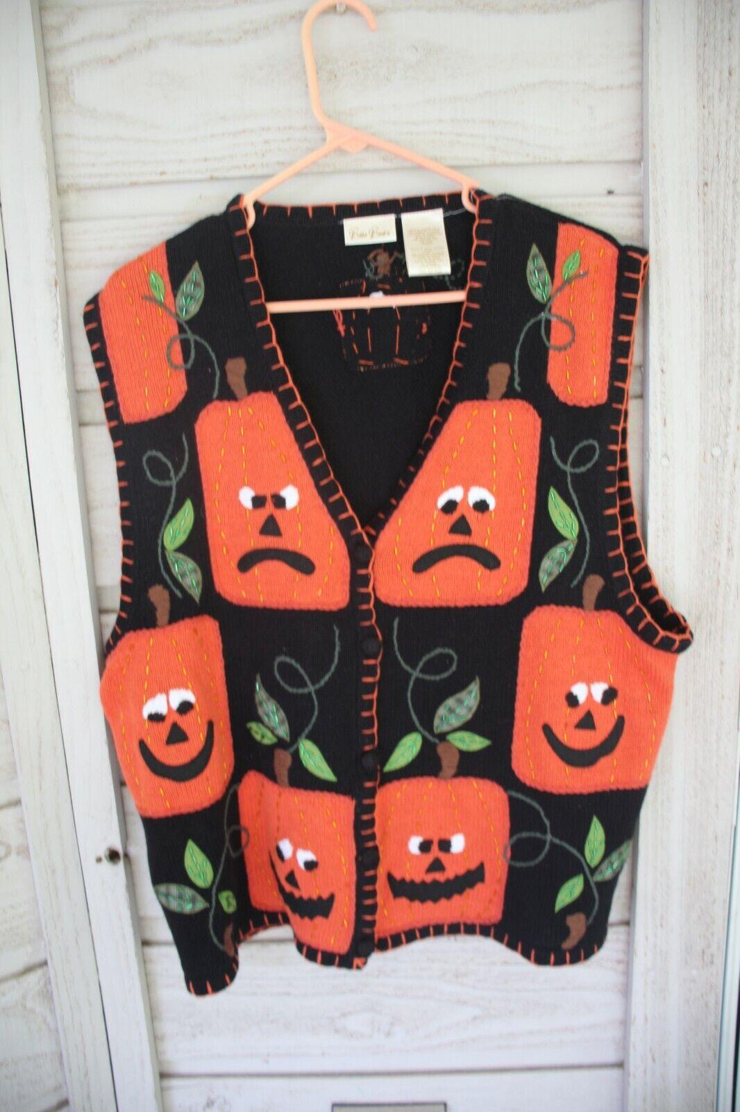 Halloween Sweater Vest Vintage Silly Pumpkin Face BOBBIE BROOKS Crochet Sz XL