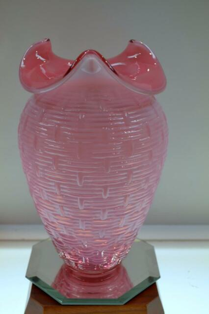Fenton Basket Cranberry Opalescent Hobnail Small 65 Inch