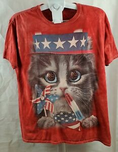 Cat-America-4th-Of-July-T-Shirt-Tie-Dye-Red-White-Blue-Stars-amp-Stripes-Flag-SizeXL