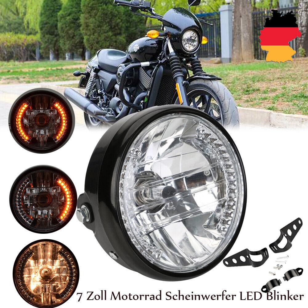 Universal Spitzen Scheinwerfer Vintage Motorrad Scheinwerfer H4 Lampe F/ür Harley Honda Chopper Sportster Softail Custom CG Bernsteinfarbene Linse
