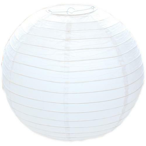 """20/"""" Large Classic Chinese White Round Paper Bamboo Style Ribbed Lampshade 50cm"""