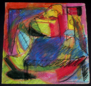 Details About Abstract Modern Oil Pastel Painting Empty Alcohol Bottle Room Erupting In Color