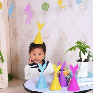 10-pcs-Mermaid-Tail-Hat-Birthday-Party-Decor-Paper-Craft-Caps-Children-Supplies