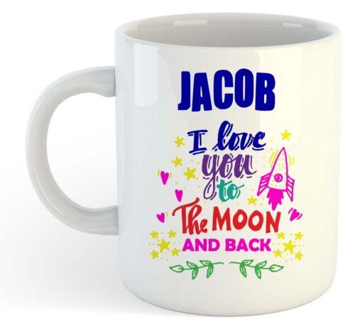 Funny Named Valentine Mug I Love You To The Moon And Back Mug Blue Jacob