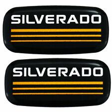 Custom Epoxy Resin Silverado Emblems Pillar Cab Badges Logo For Yellow 2pcs