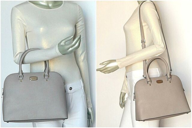 1e3a14b1cf25 Michael Kors Cindy LG Dome Satchel Leather Pearl Grey 35s6scps3l Ships