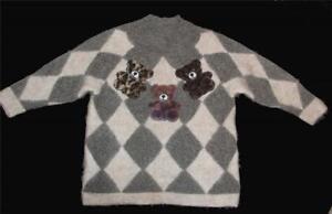 Lang WMS Mohair xl Furry L Bears Blend 3 Argyle Italien Exc Sjælden Sweater zq0gTww