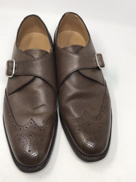Charles Tyrwhitt Men's Sz US 10.5 EU 44 Leather Monk Strap Wingtip Shoes