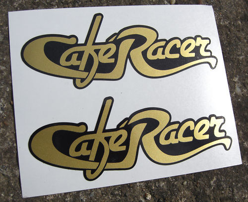CAFE RACER retro GOLD Script logos x2