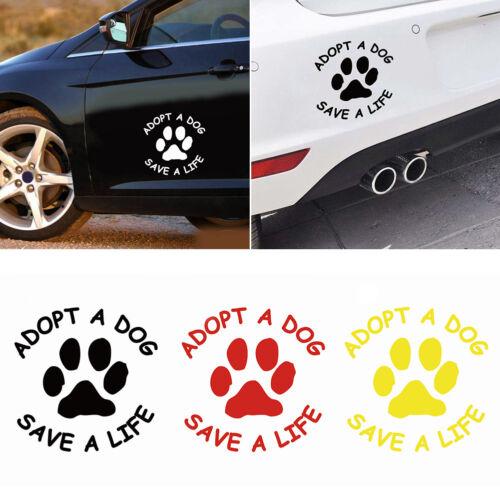 LX/_ FM ADOPT A DOG SAVE A LIFE PAW PATTERN SELF-ADHESIVE CAR STICKER DECAL CH