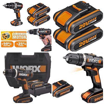 Cordless Combi Hammer Drill WORX 20V X2 LION Batterys *Brushless Motor.NEW MODEL