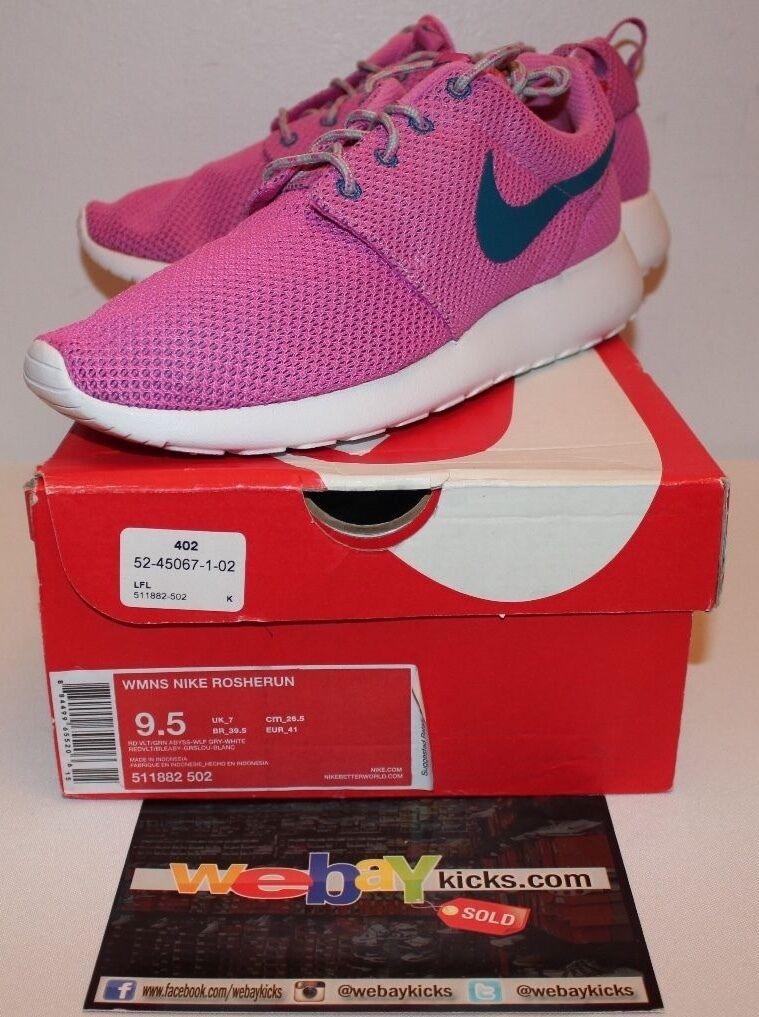 Nike Air Roshe Run Volt Pink bluee White Sneakers Women's Size 9.5 New