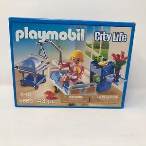 NIB-Playmobil-6660-City-Life-Maternity-Room-Baby-Mother-Bed-Hospital-Family