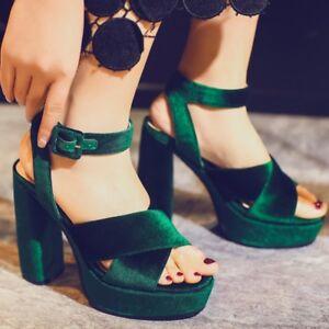 Velvet-Women-039-s-Peep-Toe-Ankle-Strap-Platform-High-Block-Heels-Slingbacks-sandals