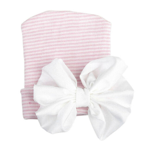 Newborn Baby Boys Girls Infant Colorful Striped bowknot Soft Hat Bow Cap Beanie