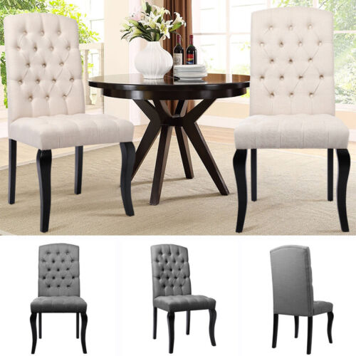 Beige/Gray Dining Chairs Deep Button Seat Home Office Kitchen Upholstered Chair Beige,Grey