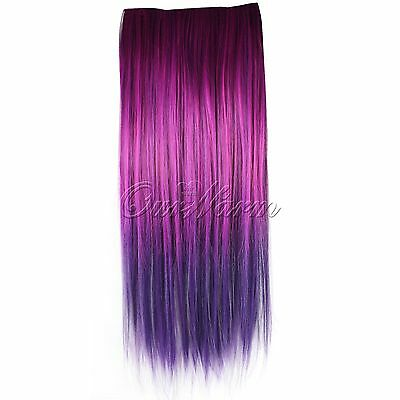 Women Colorful Full Head Clip Synthetic Straight/Curly Hair Extensions New Real