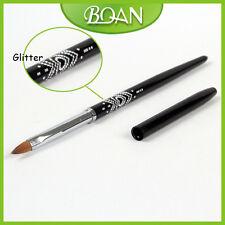1Pc Rhinestone Design Natural Kolinsky Hair Brush 3D Brush Acrylic Nail Brush 4#