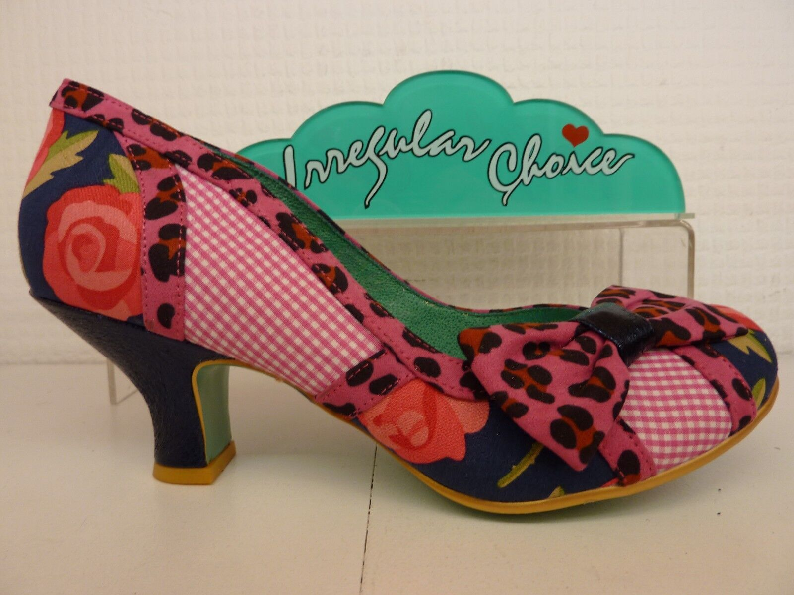 Poetic Licence by Irregular Choice Shake It Pink Navy Ladies Bow Low Heel shoes