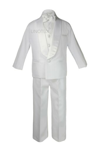 Teens Boys Wedding Formal Satin Shawl Lapel Bow Tie Vest Tuxedo White Suits 5-18