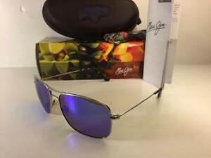 7f8c8b09a19 New Maui Jim Wiki Wiki Polarized Titanium Sunglasses 246-17 Silver ...