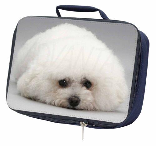 AD-BF1LBN Bichon Frise Dog Navy Insulated School Lunch Box Bag