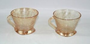 Set-of-2-Beautiful-Orange-Depression-Glass-Handled-Punch-Cups-2-1-2-034-Tall