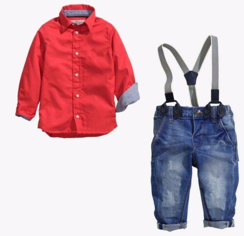 NEW Kids Baby Boys Long Sleeve Shirt Braces Jeans Clothes Outfits /& Sets 2-7Y
