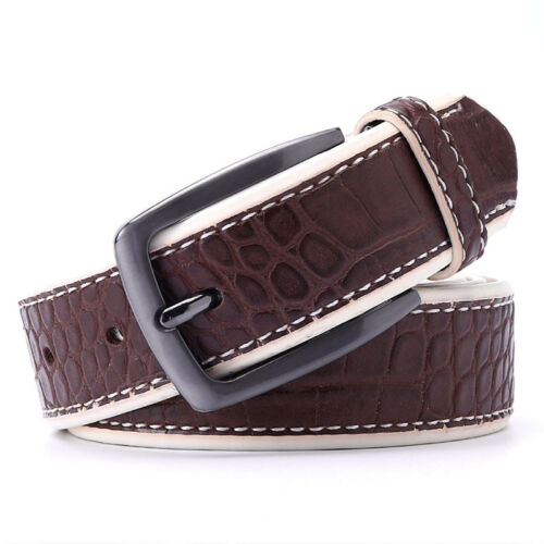 Men PU Crocodile Belts Faux Leather Alligator Pattern Designer Belt Black Dark