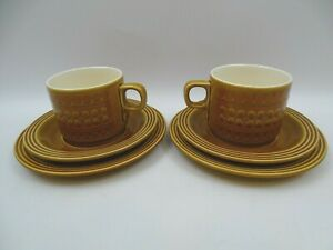 2-Hornsea-Pottery-Saffron-Trios-Tea-Cups-Plates-Side-Plates