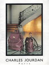 ▬► PUBLICITE ADVERTISING AD Charles JOURDAN Sac Bag 1985
