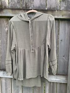 Umgee-USA-Tunic-Top-Blouse-Small-Green-Crochet-Trim-Boho-Hippie-Hooded-Shirt
