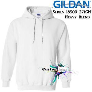 Gildan-White-Hoodie-Heavy-Blend-Basic-Hooded-Sweat-Sweater-Men-039-s-XS-XXL