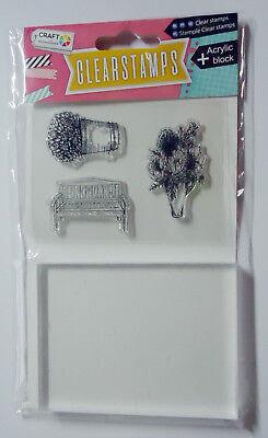 Motivstempel /& Acryl Block Bank /& Blumen Clear Stempel Kartengestaltung